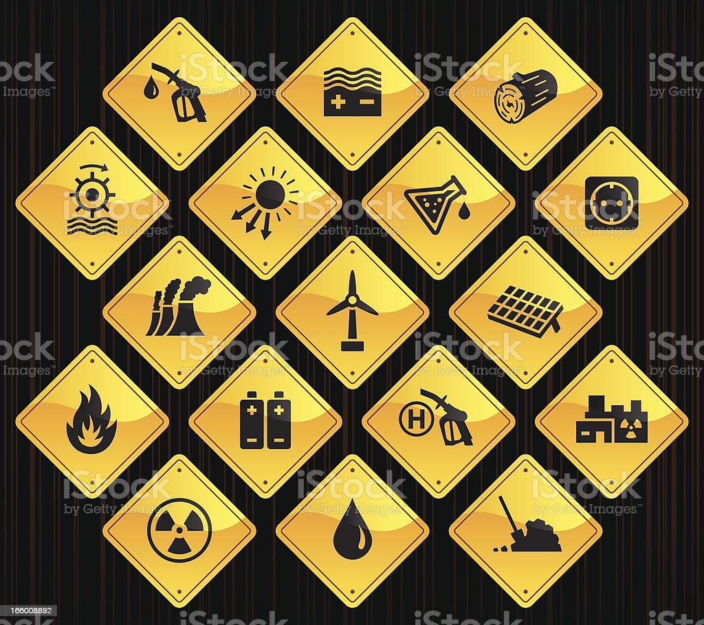 Yellow Road Signs - Energy Sources vector art illustration