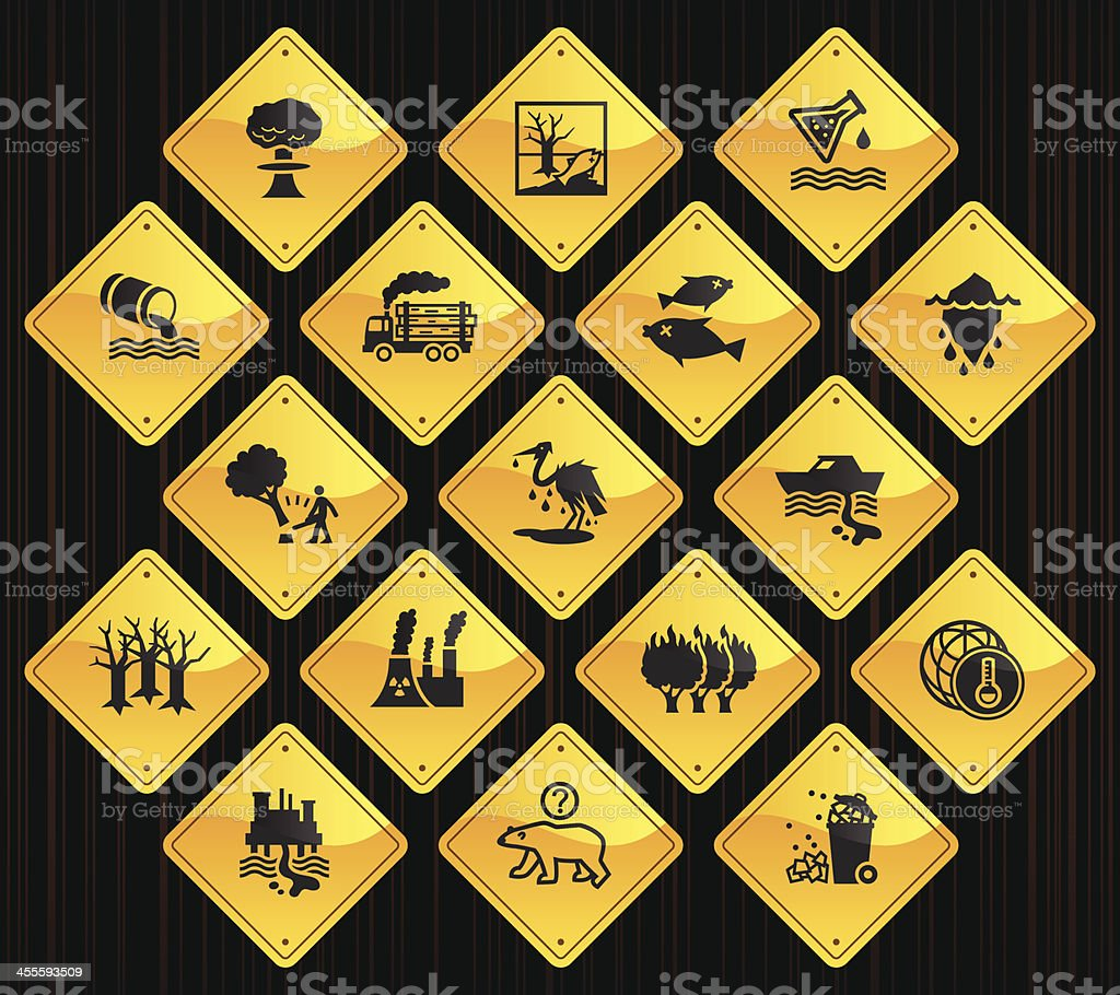 Yellow Road Signs - Environmental Damage royalty-free stock vector art