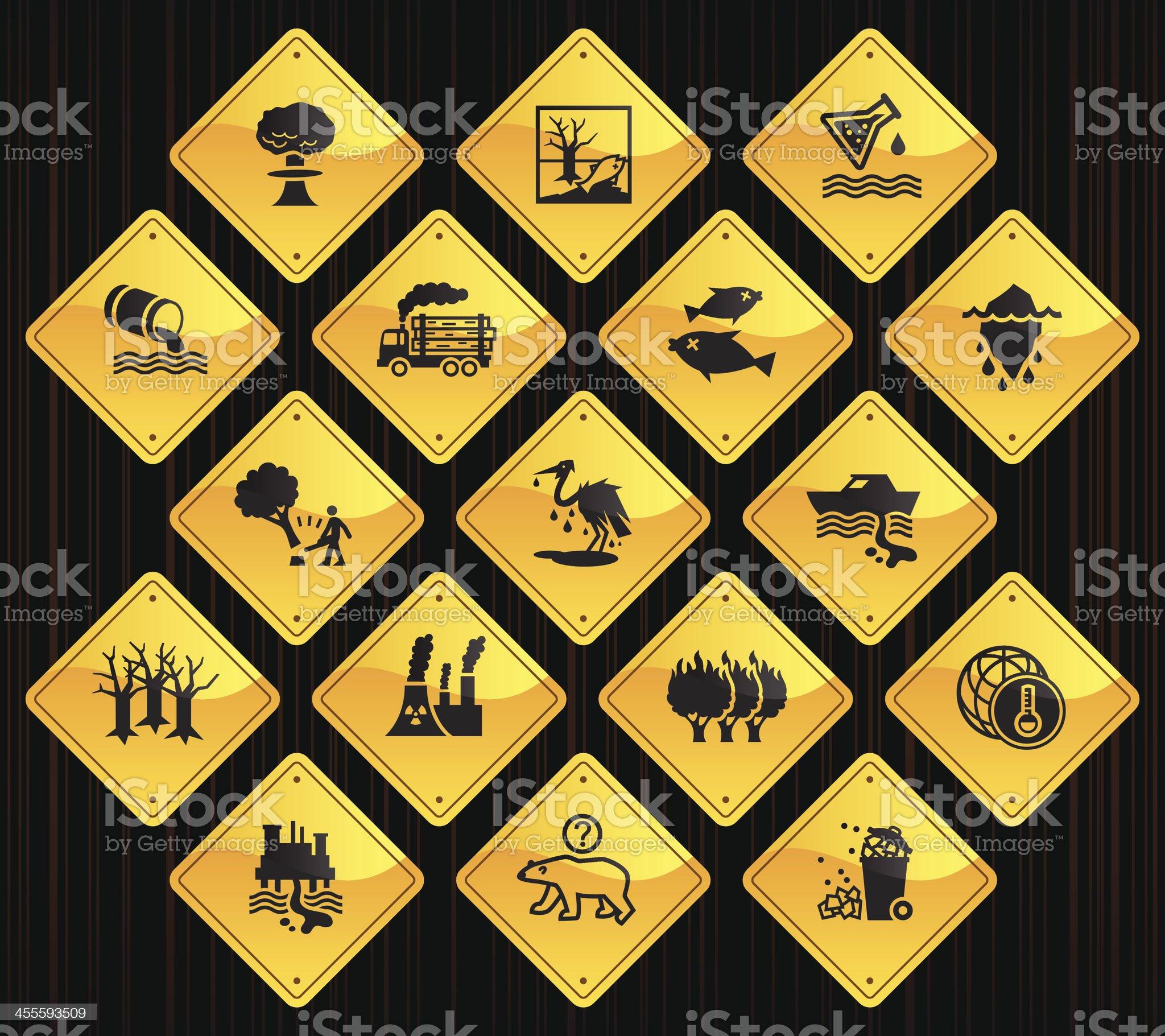 Yellow Road Signs - Environmental Damage royalty-free stock vector art