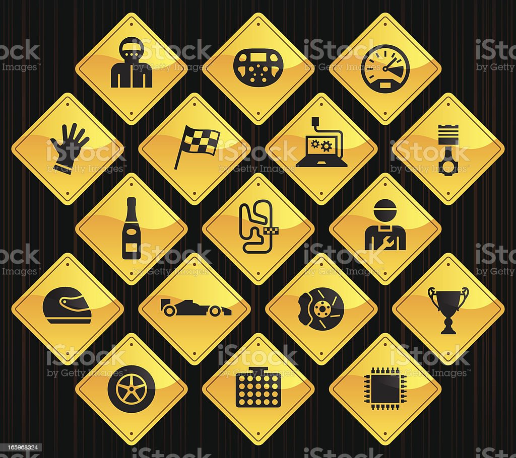 Yellow Road Signs - Formula One royalty-free stock vector art