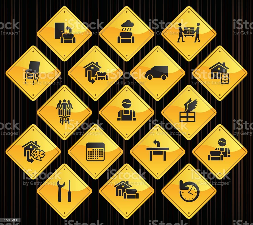 Yellow Road Signs - Furniture Delivery royalty-free stock vector art