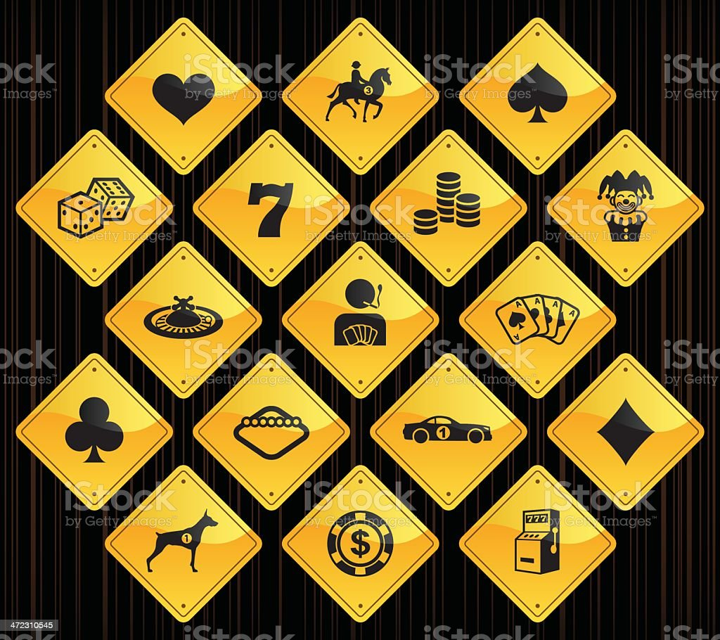 Yellow Road Signs - Gambling royalty-free stock vector art