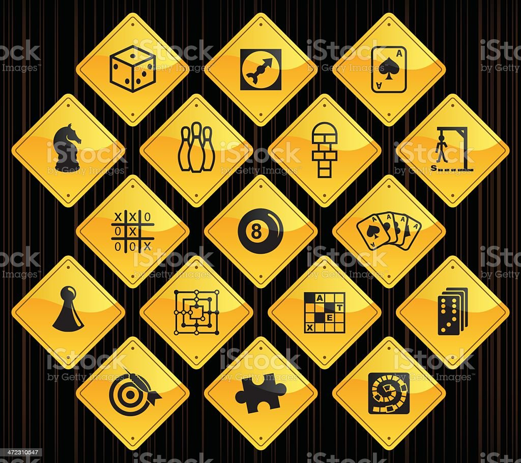 Yellow Road Signs - Games vector art illustration