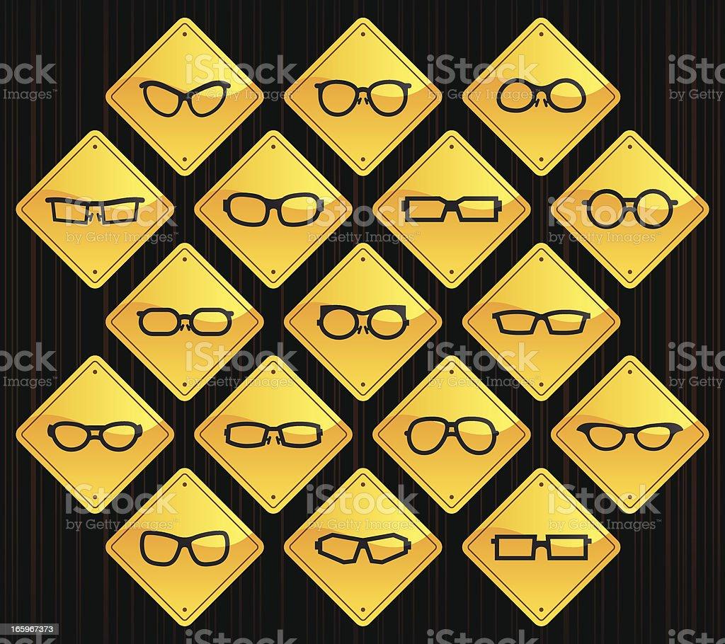 Yellow Road Signs - Glasses vector art illustration