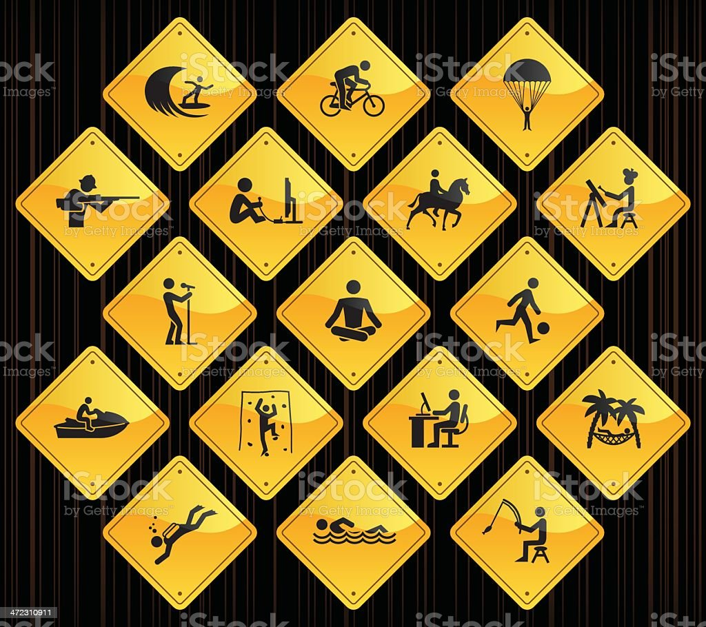 Yellow Road Signs - Hobbies vector art illustration