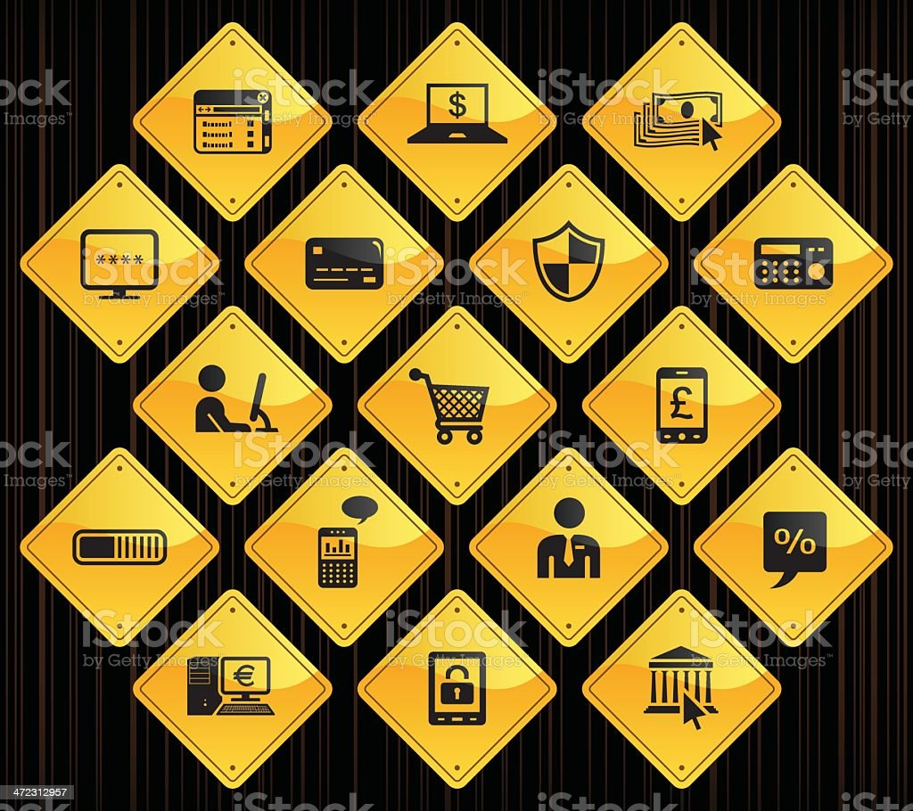 Yellow Road Signs - Home Banking royalty-free stock vector art