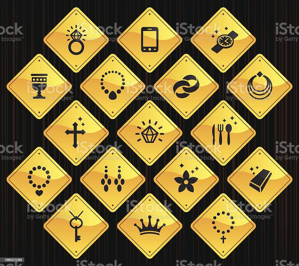 Yellow Road Signs - Jewellery vector art illustration