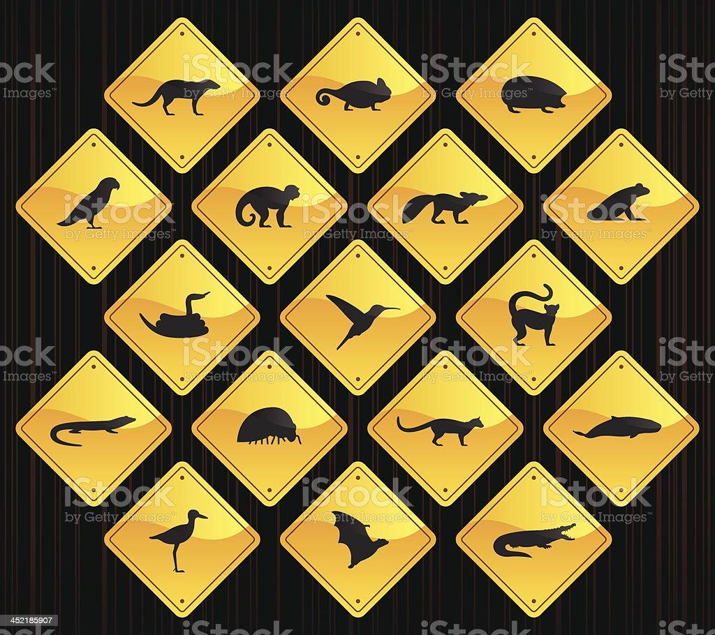 Yellow Road Signs - Madagascar Animals royalty-free stock vector art