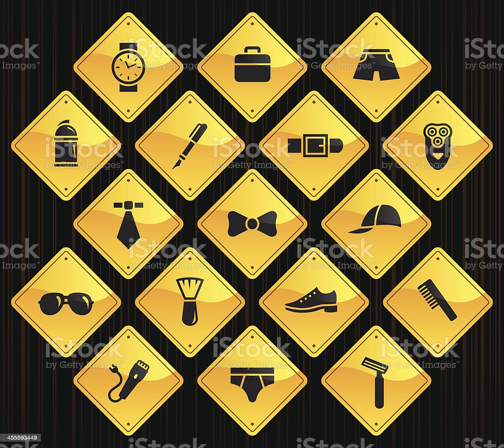 Yellow Road Signs - Man's Accessories royalty-free stock vector art