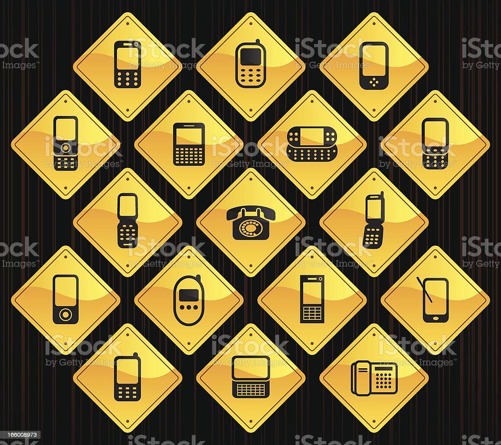 Yellow Road Signs - Phones royalty-free stock vector art