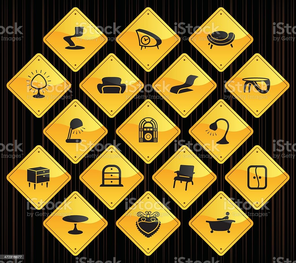 Yellow Road Signs - Retro Furniture royalty-free stock vector art