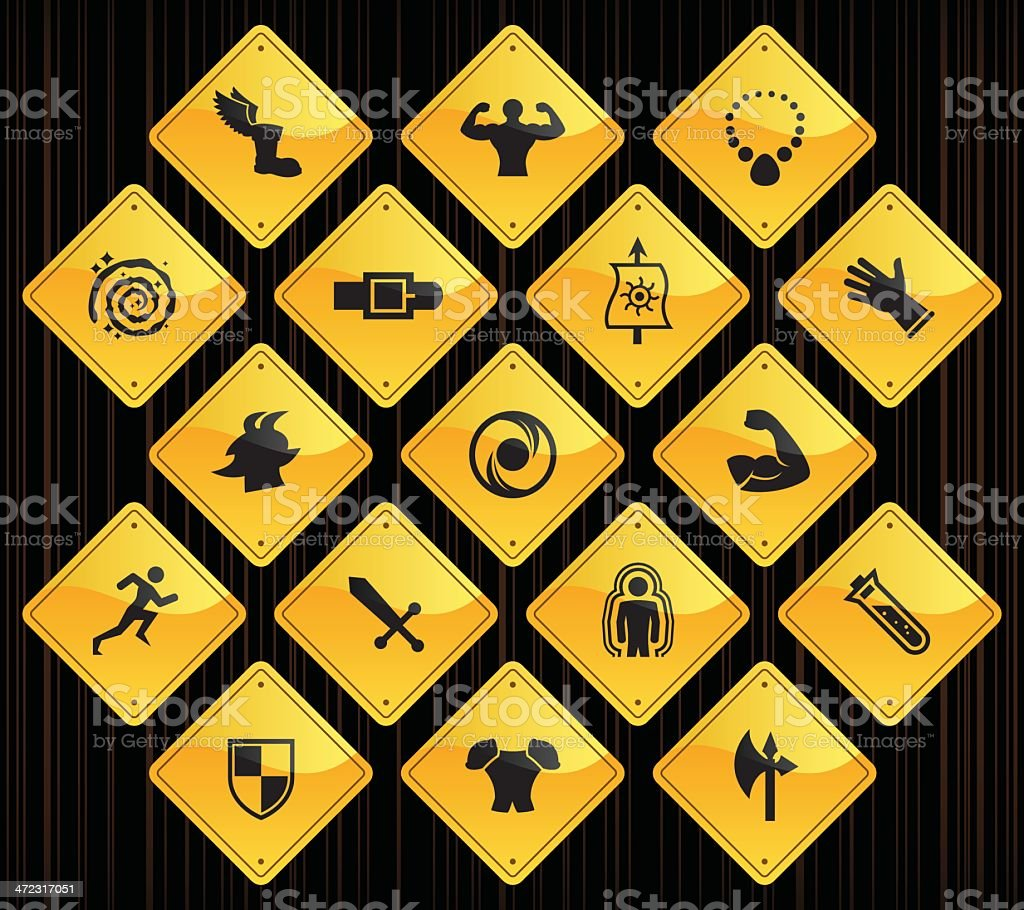 Yellow Road Signs - Role Playing Games royalty-free stock vector art