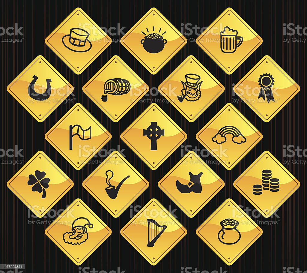 Yellow Road Signs - Saint Patrick's Day vector art illustration