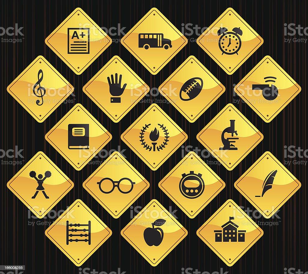 Yellow Road Signs - School vector art illustration