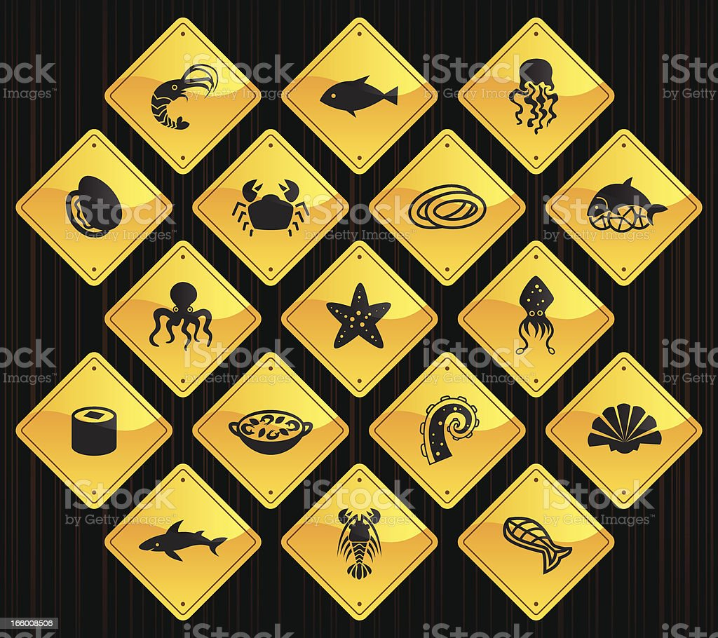 Yellow Road Signs - Sea Food vector art illustration
