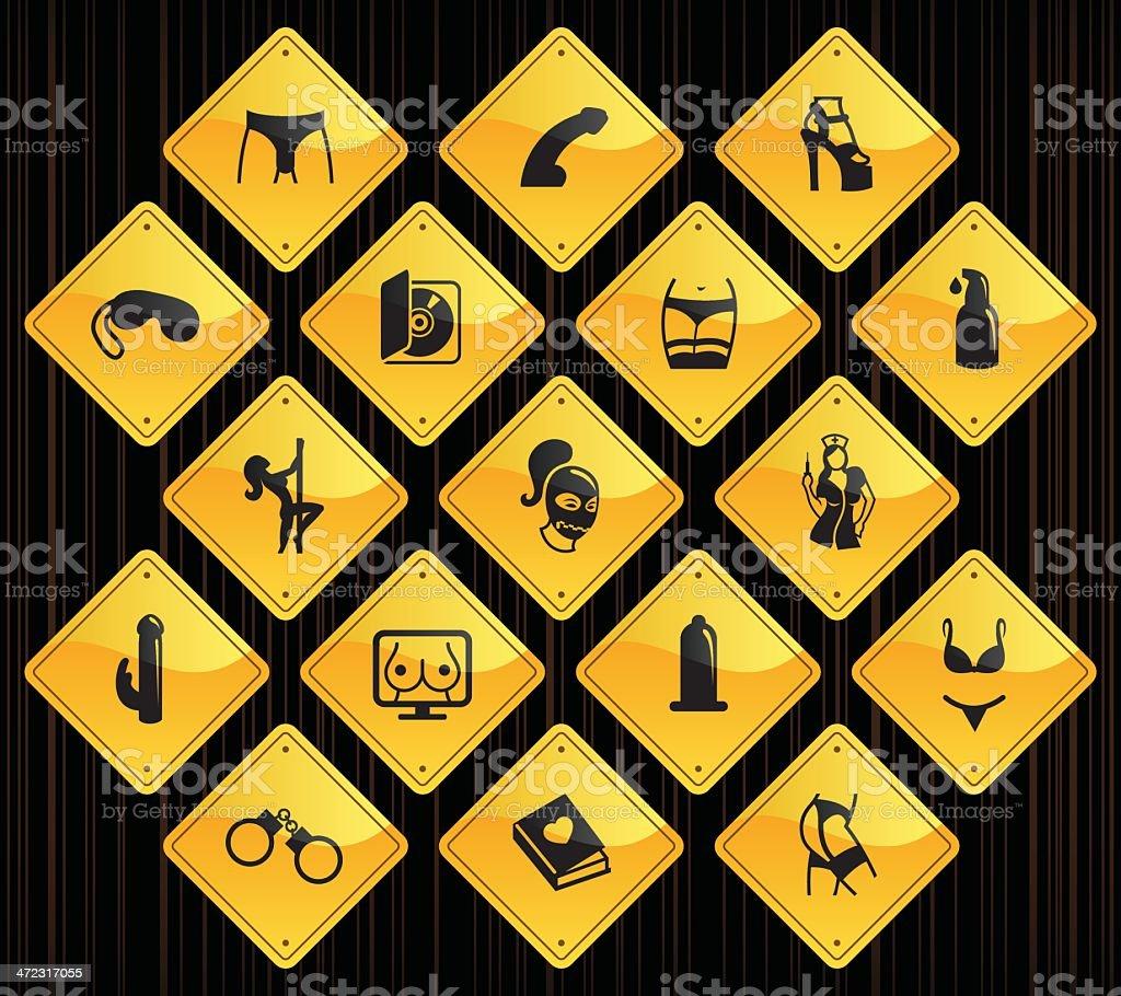 Yellow Road Signs - Sex Industry vector art illustration