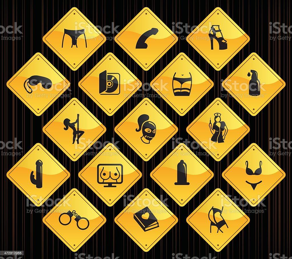 Yellow Road Signs - Sex Industry vector art illustration