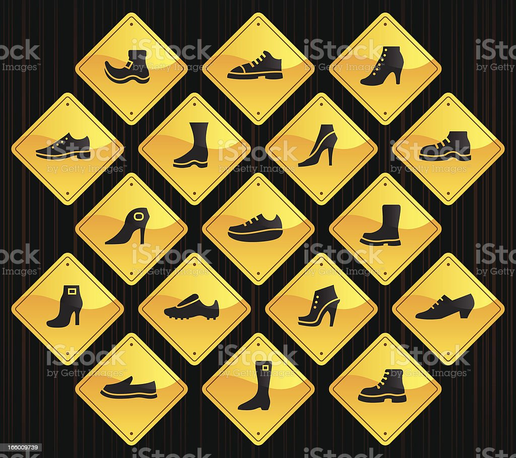 Yellow Road Signs - Shoes vector art illustration