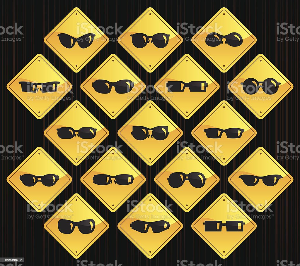Yellow Road Signs - Sunglasses royalty-free stock vector art