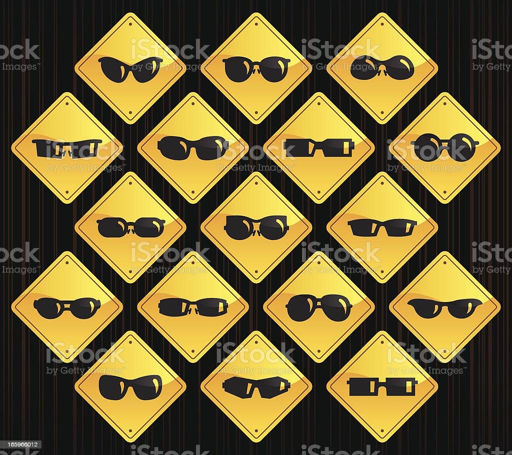 Yellow Road Signs - Sunglasses vector art illustration