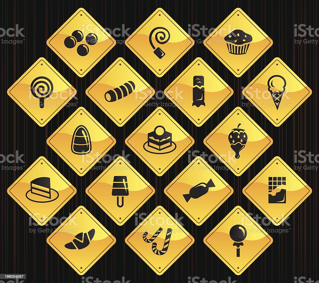 Yellow Road Signs - Sweets & Candy royalty-free stock vector art