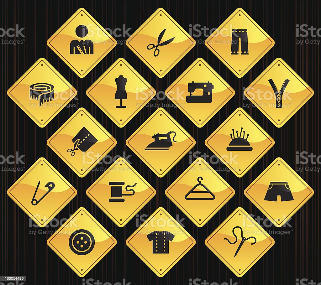Yellow Road Signs - Tailor royalty-free stock vector art