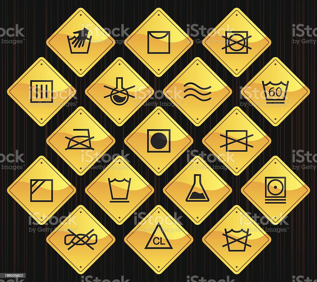Yellow Road Signs - Textile Care royalty-free stock vector art