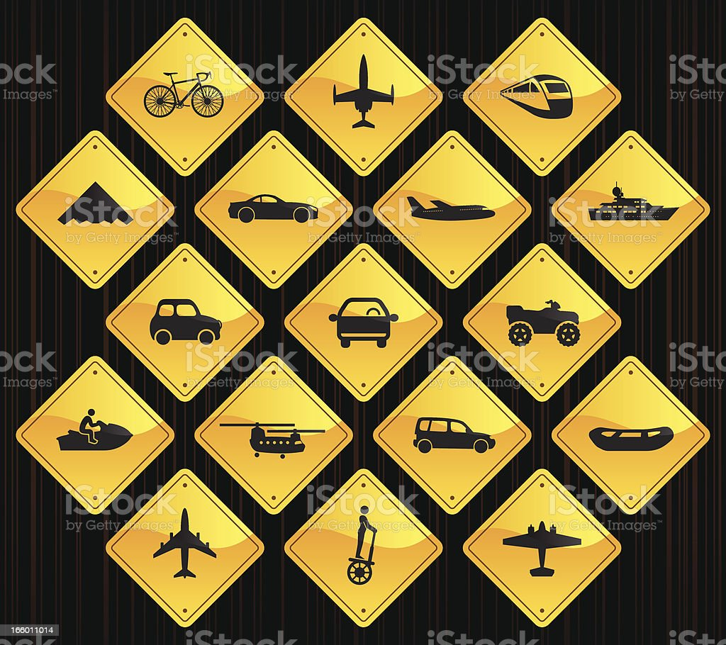 Yellow Road Signs - Transportation royalty-free stock vector art