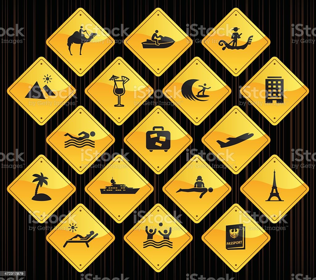 Yellow Road Signs - Vacation royalty-free stock vector art