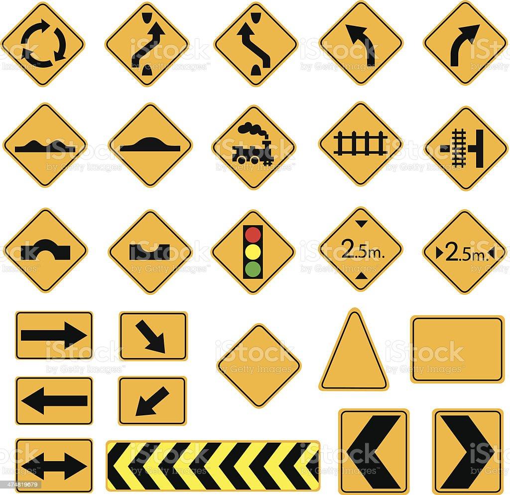 yellow road signs vector art illustration