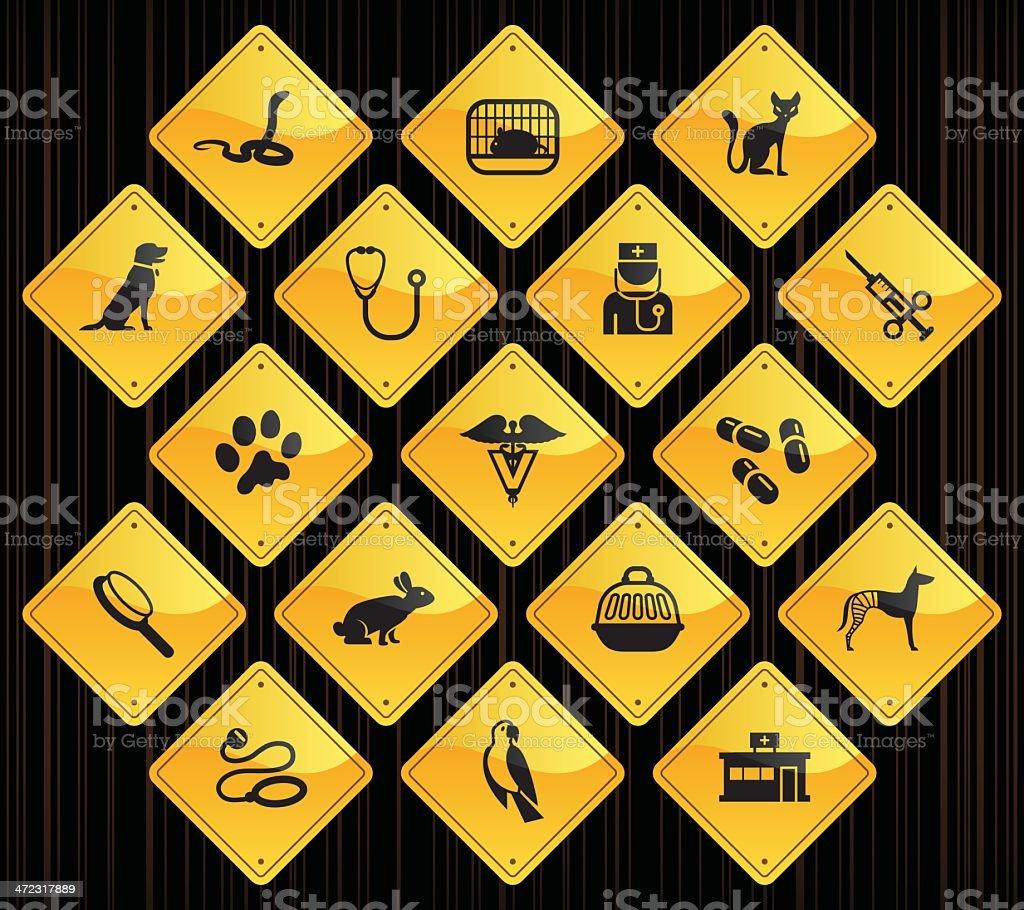 Yellow Road Signs - Veterinary vector art illustration