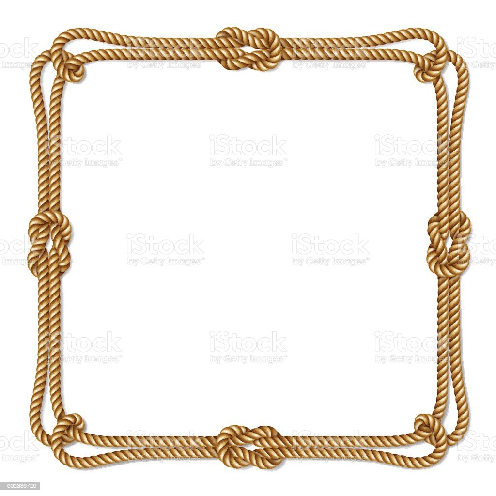 Yellow rope woven vector border with rope knots square Rope photo frame