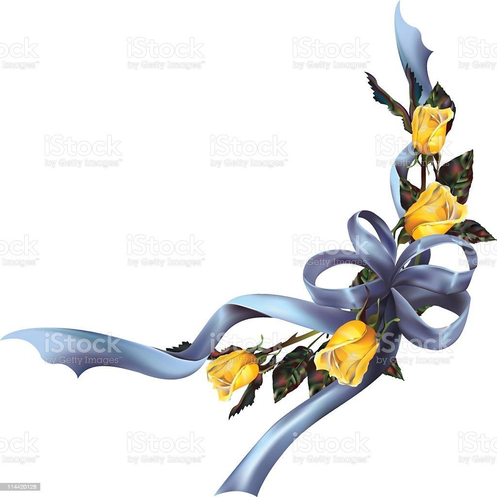 Yellow Roses & Blue Bow vector art illustration