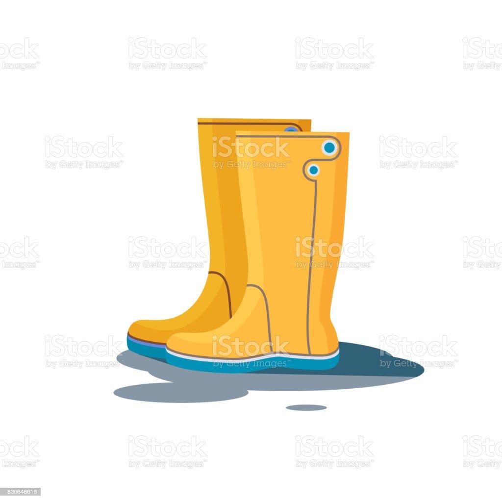 Yellow rubber boots. Vector illustration vector art illustration