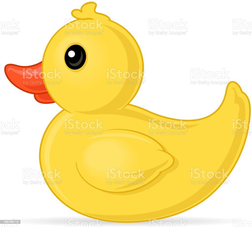 Yellow rubber duck over white background vector art illustration