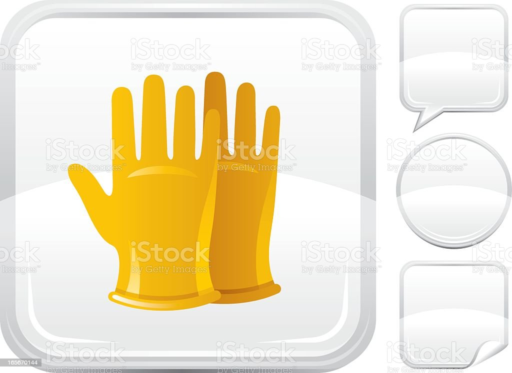 Yellow rubber gloves icon on a square vector art illustration