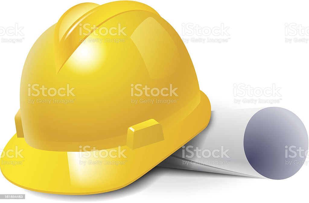 Yellow safety hard hat and drawings. royalty-free stock vector art