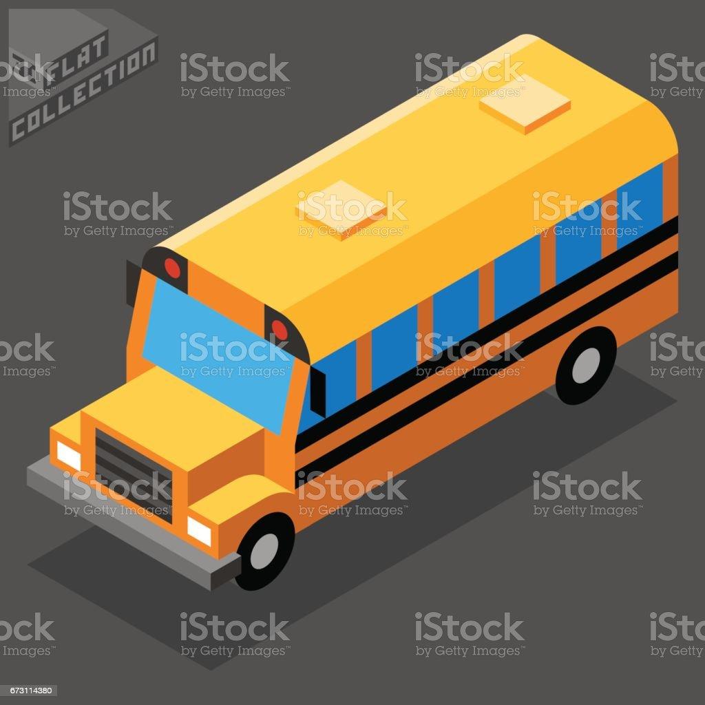 Yellow School Bus Icon. 3D Isometric Low Poly Flat Design. vector art illustration