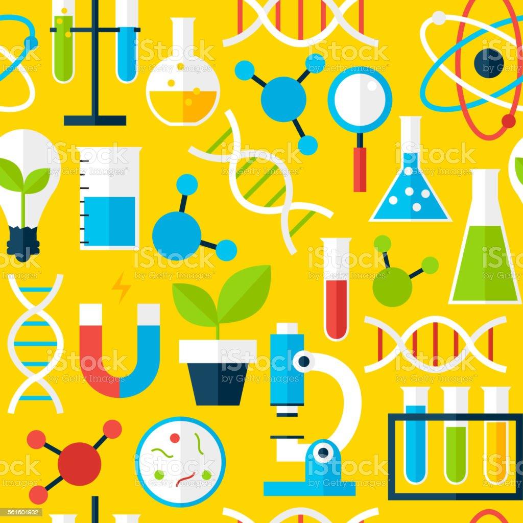 Yellow Seamless Pattern Science Education vector art illustration