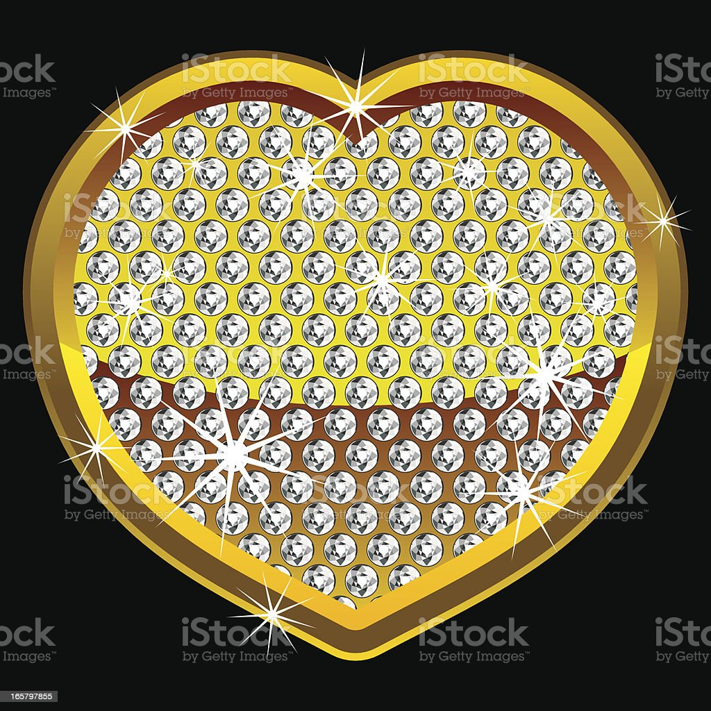 Yellow shining heart with diamonds royalty-free stock vector art