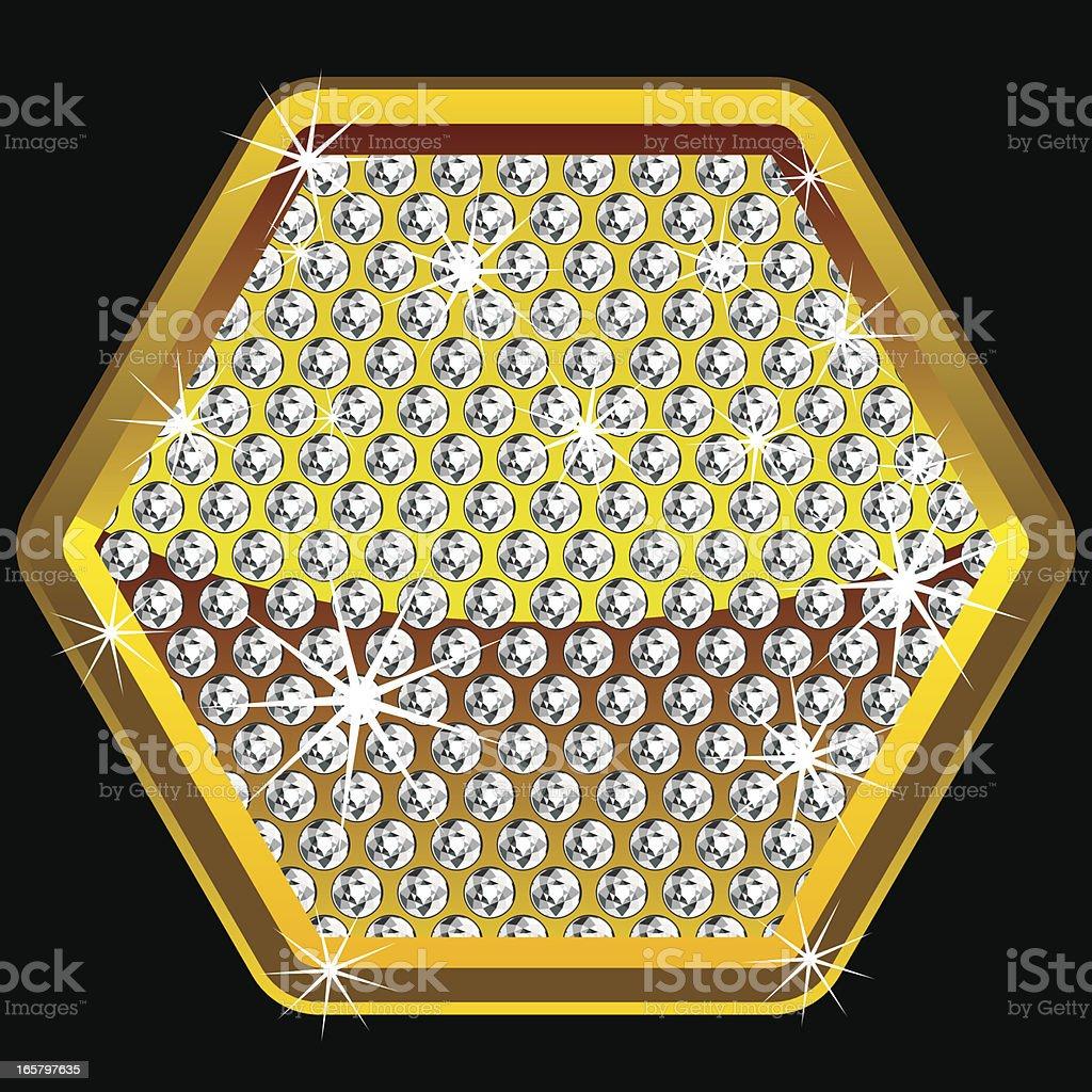 Yellow shining hexagon with diamonds royalty-free stock vector art