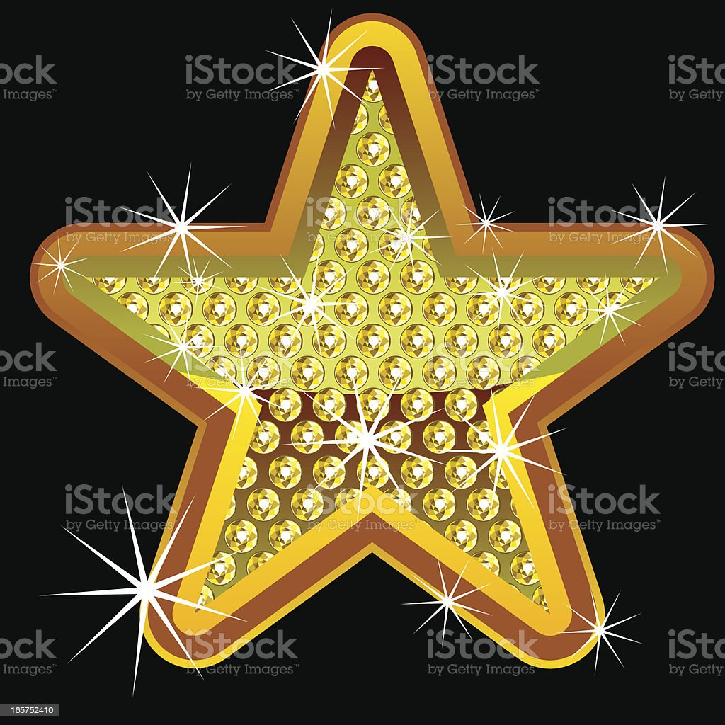 Yellow shining star with diamonds royalty-free stock vector art