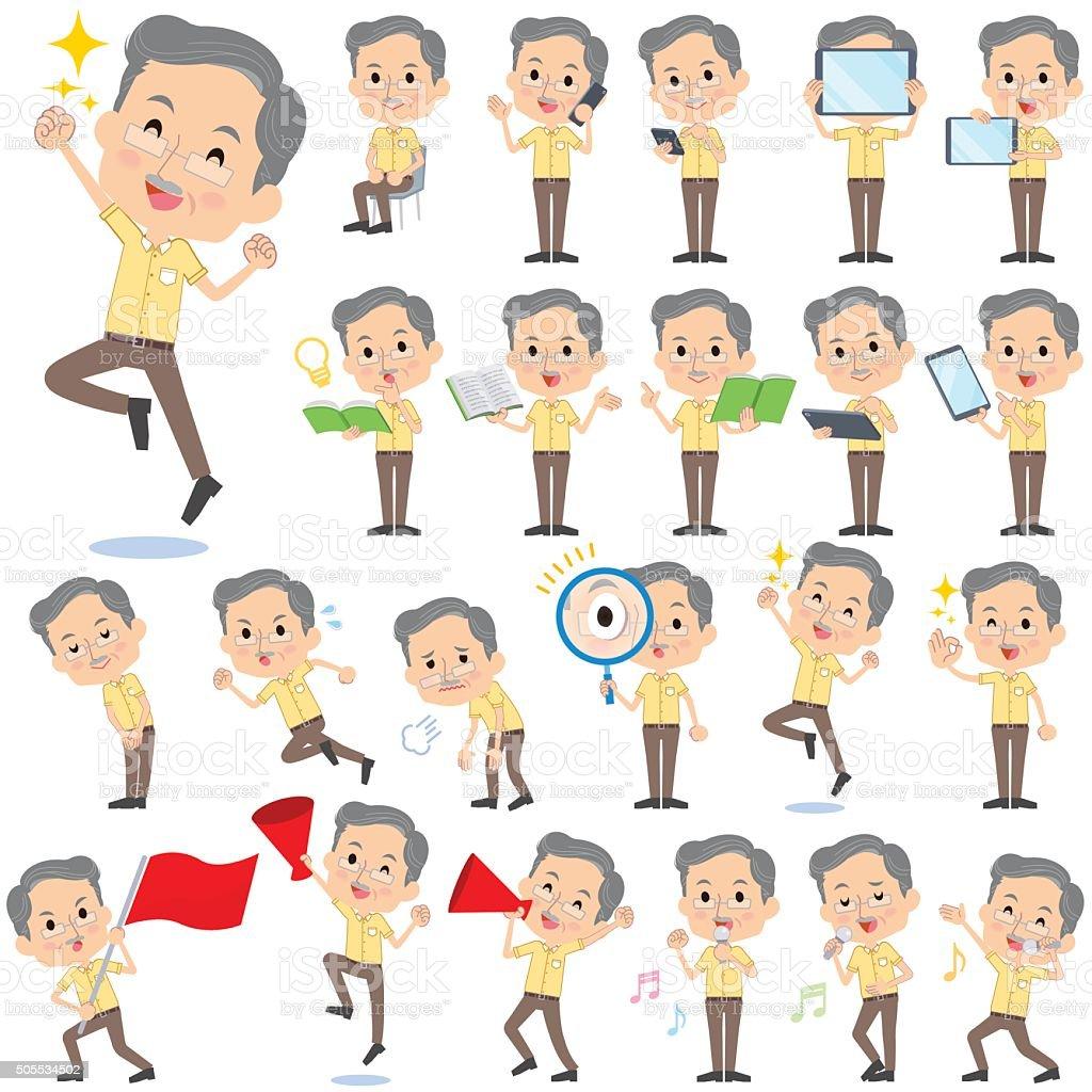 Yellow shortsleeved president Men 2 vector art illustration
