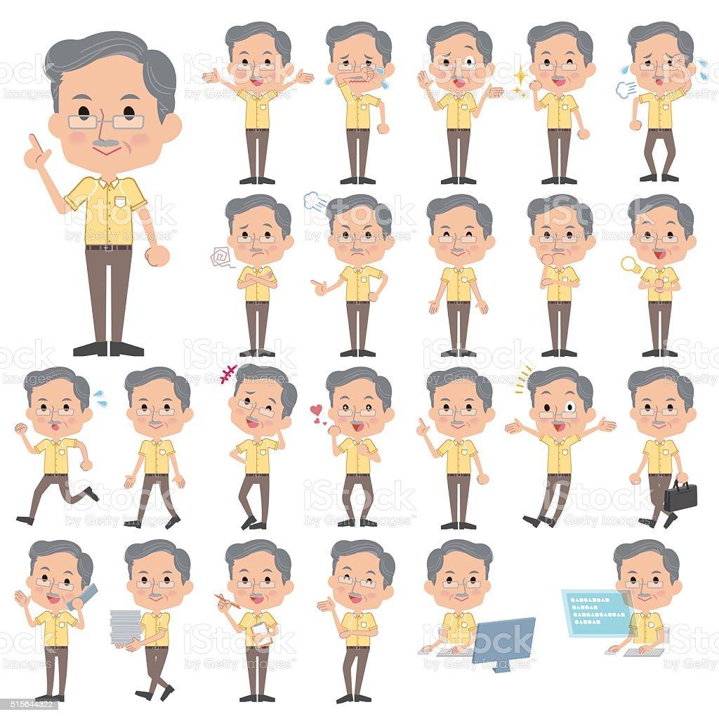 Yellow shortsleeved president Men vector art illustration