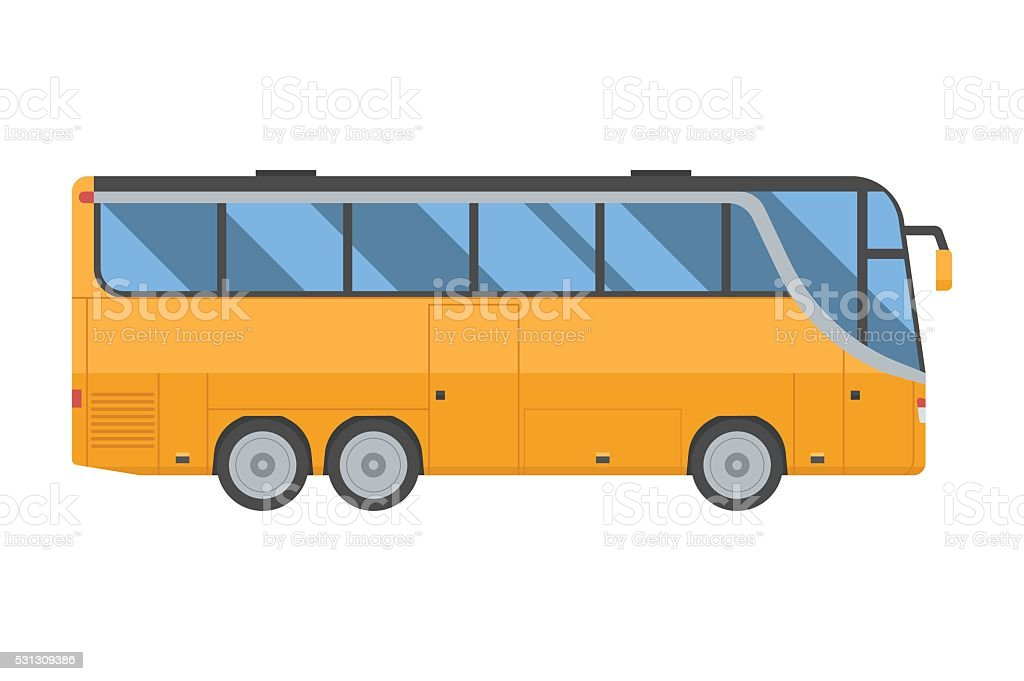 Yellow Shuttle Bus vector art illustration