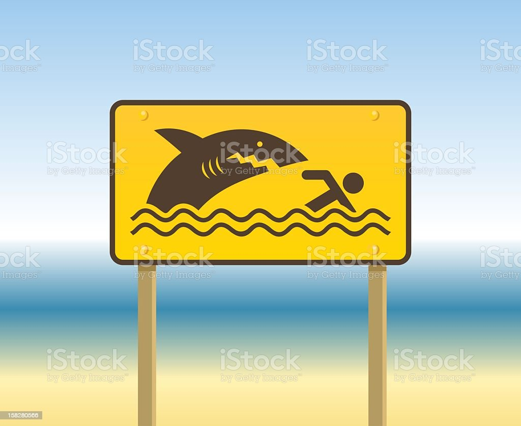 A yellow sign at the beach meaning beware of sharks vector art illustration