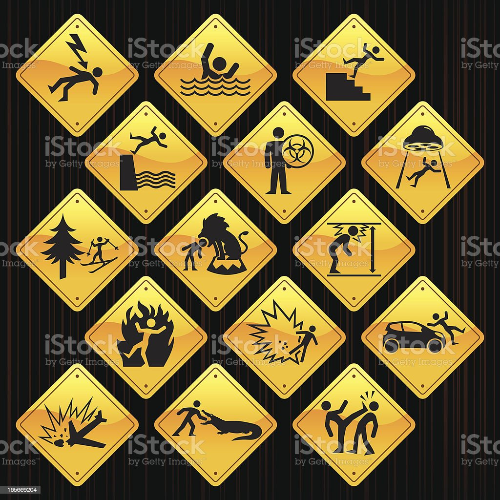 Yellow Signs - Accidents royalty-free stock vector art