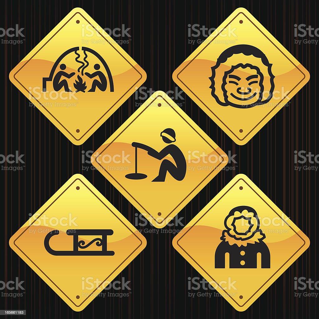 Yellow Signs - Arctic Polar vector art illustration