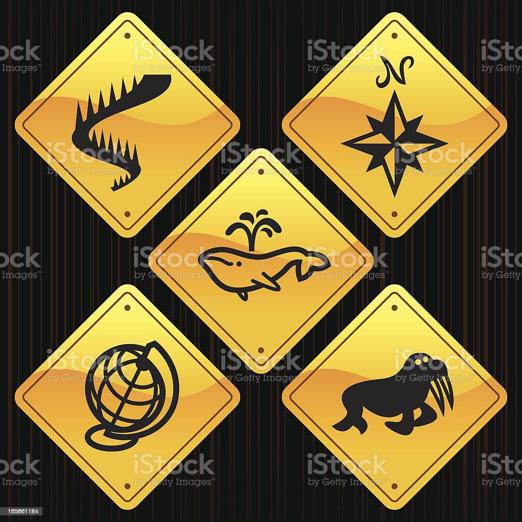 Yellow Signs - Arctic Polar royalty-free stock vector art