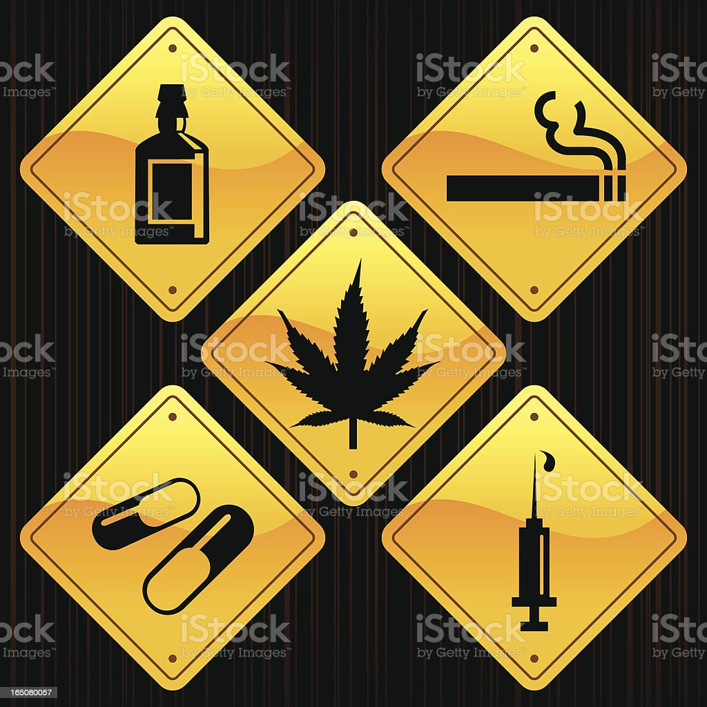 Yellow Signs - Drugs vector art illustration